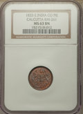 India:British India, India: British India. Bombay Presidency Pie 1833 MS63 Brown NGC,...