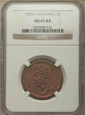 French Colonies: Charles X 5 Centimes 1825-A MS65 Red and Brown NGC