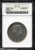 Coins of Hawaii: , 1883 50C Hawaii Half Dollar XF45 ANACS....