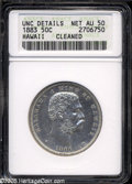 Coins of Hawaii: , 1883 50C Hawaii Half Dollar--Cleaned--ANACS. Unc Details, NetAU50....