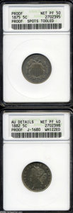 1882 5C Liberty Head Five Cents, Judd-1680, Pollock-1882, Low R.6--Whizzed--ANACS, AU Details, Net PR40, a glossy and mi...