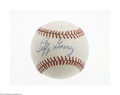 Autographs:Baseballs, Lefty Gomez Single Signed Baseball. Perfect blue ink sweet spotsignature on an OAL (Brown) baseball. LOA from Steve Grad...