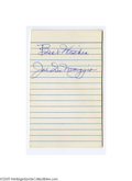 "Autographs:Index Cards, Joe DiMaggio Signed Index Card. Perfect blue ink signature on the lined side of a 3x5"" index card. LOA from Steve Grad & ..."