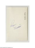 Autographs:Index Cards, Roger Maris Signed Index Card. Blue ink is perfect 10/10 instrength, though Maris backtracked over the final three letters...