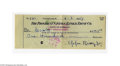 """Autographs:Checks, 1957 Eppa Rixey Signed Check. Personal check made out to """"Cash"""" for$100 is filled out and signed in Rixey's 10/10 blue ink..."""
