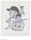 Baseball Collectibles:Others, Mickey Mantle Signed Print. Fine print of a pencil sketch featuringfour portraits of the Mick is signed by the subject in ...