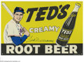"Autographs:Others, Ted Williams Signed Tin Sign. Perfect replica of the signs oncemanufactured to promote ""Ted's Creamy Root Beer"" offers a 9..."