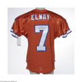 Football Collectibles:Uniforms, John Elway Signed Jersey. High-quality replica jersey is signed on the back in perfect blue sharpie. LOA from Steve Grad ...