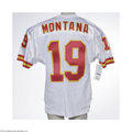 Football Collectibles:Uniforms, Joe Montana Signed Jersey. High-quality replica jersey is signed on verso in perfect silver sharpie. LOA from Steve Grad ...