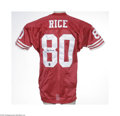 Football Collectibles:Uniforms, Jerry Rice Signed Jersey. High-quality replica jersey is signed on the back in perfect black sharpie. Rice's personal auth...