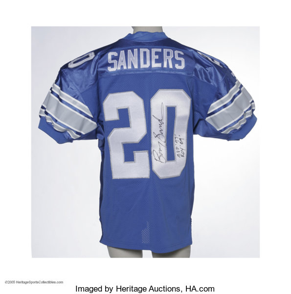 free shipping 51b92 ac6d1 Barry Sanders Signed Jersey. High-quality replica jersey ...