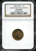 "Proof Indian Cents: , 1886 1C Type One PR 64 Red NGC. The current Coin Dealer Newsletter (Greysheet) wholesale ""bid"" price is $520.00...."