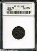 "Proof Indian Cents: , 1892 1C PR 63 Brown ANACS. The current Coin Dealer Newsletter (Greysheet) wholesale ""bid"" price is $85.00...."