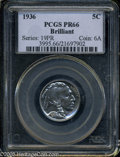 Proof Buffalo Nickels: , 1936 5C Type Two--Brilliant Finish PR66 PCGS....