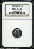 Proof Roosevelt Dimes: , 1999-S 10C Clad PR 70 Cameo NGC. ...