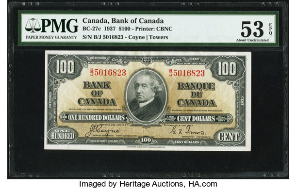 Canadian Currency Bc 27c 100 Dollars 2 1 1937 Pmg About Uncirculated 53 Epq