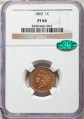 Proof Indian Cents, 1862 1C PR64 NGC. CAC....