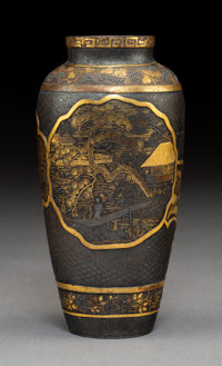 A Japanese Mixed Metal Damascene Vase, Meiji period Marks: (four-character mark) 5-3/8 x 2-3/4 inches (13.7 x 7
