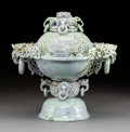 Carvings, A Chinese Carved Jadeite Covered Urn. 13-1/2 x 13-1/8 x 8-3/8 inches (34.3 x 33.3 x 21.3 cm) (overall). PROPERTY FROM A BE... (Total: 2 Items)