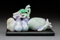 Carvings, A Chinese Jadeite Carved Set with Mantis-Form Stopper. 3-3/8 x 9-1/2 x 2-3/4 inches (8.4 x 24.1 x 7.0 cm). PROPERTY FROM A...