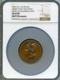 Expositions and Fairs, 1893 World's Columbian Exposition, 1892 Liberty Head, High Relief,MS65 Brown NGC. Eglit-51. Copper, 50.5 mm....