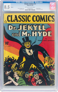 Classic Comics #13 Dr. Jekyll and Mr. Hyde - First Edition (Gilberton, 1943) CGC VF+ 8.5 Off-white to white pages