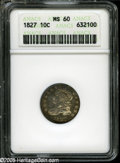 Bust Dimes: , 1827 10C MS60 ANACS....
