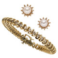 Estate Jewelry:Lots, Diamond, Cultured Pearl, Gold Jewelry. ... (Total: 2 Items)
