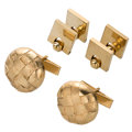 Estate Jewelry:Cufflinks, Gold Cuff Links. ... (Total: 2 Items)