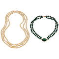 Estate Jewelry:Necklaces, Malachite, Citrine, Cultured Pearl, Gold Necklaces. ... (Total: 2 Items)