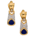 Estate Jewelry:Earrings, Diamond, Lapis Lazuli, Gold Earrings The earri...