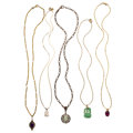 Estate Jewelry:Necklaces, Multi-Stone, Diamond, Gold, Silver Pendant Necklaces. ... (Total: 5 Items)