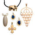 Estate Jewelry:Pendants and Lockets, Multi-Stone, Gold Pendant-Necklace. ... (Total: 6 Items)