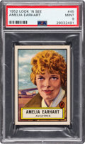 Non-Sport Cards:General, 1952 Topps Look 'N See Amelia Earhart #45 PSA Mint 9 - Pop Three,None Higher. ...