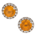 Estate Jewelry:Earrings, Spessartine Garnet, Diamond, White Gold Earrings