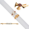 Estate Jewelry:Lots, Retro Diamond, Ruby, Cultured Pearl, Gold Jewelry. ... (Total: 4 Items)