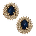 Estate Jewelry:Earrings, Sapphire, Diamond, White Gold Earrings The ear...