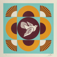 Shepard Fairey (b. 1970) Dove Geometric, set of three, 2018 Screenprints in colors on cream wove pap