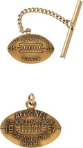 Football Collectibles:Others, 1961-67 Green Bay Packers NFL Championship Tie Clasp & Charm from The Domenic Gentile Collection. ...