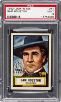 Non-Sport Cards:General, 1952 Topps Look 'N See Sam Houston #61 PSA Mint 9 - Pop Four, NoneHigher. ...