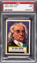 Non-Sport Cards:General, 1952 Topps Look 'N See Isaac Newton #68 PSA Mint 9 - Pop Five, Only One Higher. ...