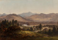 Fine Art - Painting, American, Thomas Addison Richards (American, 1820-1900). Valley Settlementalong the River. Oil on canvas. 15 x 21 inches (38.1 x ...