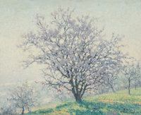 Raymond Thibésart (French, 1874-1968) Almond Trees in Early Morning Oil on canvas 21-1/2 x 25 inc