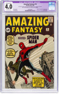 Silver Age (1956-1969):Superhero, Amazing Fantasy #15 (Marvel, 1962) CGC Apparent VG 4.0 Extensive(B-5) Off-white pages....