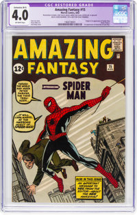 Amazing Fantasy #15 (Marvel, 1962) CGC Apparent VG 4.0 Extensive (B-5) Off-white pages
