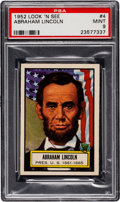 Non-Sport Cards:General, 1952 Topps Look 'N See Abraham Lincoln #4 PSA Mint 9 - Pop Two, None Higher. ...