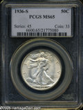 1936-S 50C MS65 PCGS. Lustrous surfaces display touches of light tan-milky color in some localized areas. A toning strea...