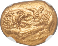 Ancients: LYDIAN KINGDOM. Croesus and later (ca. 561-546 BC). AV stater (17mm, 8.08 gm). NGC Gem MS 5/5 - 5/5