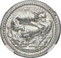 Ancients:Greek, Ancients: MACEDON. Acanthus. Ca. 470-430 BC. AR tetradrachm (29mm, 17.32 gm, 6h). NGC MS★ 5/5 - 4/5, Fine Style....