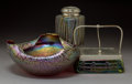 Art Glass:Other , A Rindskopf Crackle Glass Bowl and Two Austrian Iridescent Glass Pieces Attributed to Wilhelm Kralik Sohn Circa ... (Total: 3 Items)